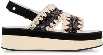 Mou Two-Tone Sequin-Embroidered Sandals
