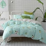 BuLuTu Floral Print Cotton Kids Bedding Cover Sets Queen For Girls Reversible Nature Lovely Full Duvet Cover Sets Hidden Zipper Closure With 4 Corner Ties (No Comforter)