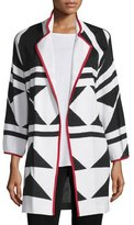 Misook Long Graphic Jacket with Piping, Tricolor