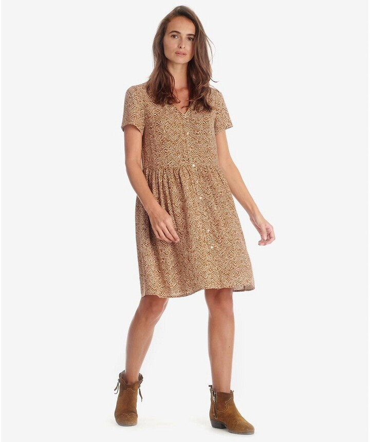 Le Temps Des Cerises Printed Buttoned Mini Dress