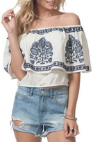Rip Curl Women's Meadow Lark Embroidered Off The Shoulder Top