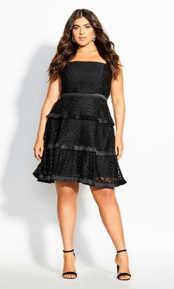 City Chic Angelic Lace Dress - black