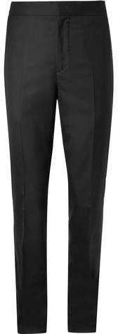 Brunello Cucinelli Cotton And Satin-Trimmed Wool And Silk-Blend Tuxedo Trousers