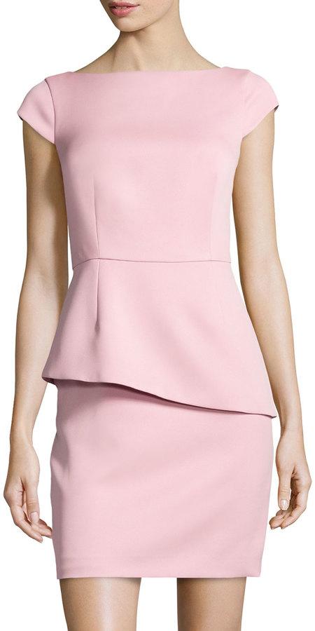 Halston Satin Cap-Sleeve Peplum Dress, Cameo