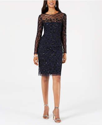 Adrianna Papell Petite Illusion-Embellished Dress
