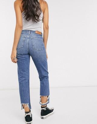 Topshop Editor straight leg raw hem jeans in mid wash