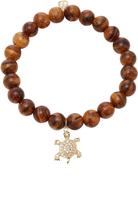 Sydney Evan Bezel Turtle charm on Round Flower Nanmu Wood Beads