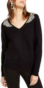 INC International Concepts Inc Embellished-Shoulder V-Neck Sweater, Created for Macy's