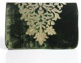 Shiraleah Green Velvet Gold Embroidered Design Clutch Handbag