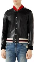 Gucci Leather Bomber Jacket with Appliqu&233