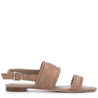 Tod's Braid-Detail Flat Leather Sandals