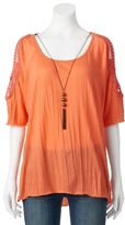 Women's French Laundry Crochet Necklace Tunic