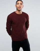 Asos Cable Sweater Burgundy Twist