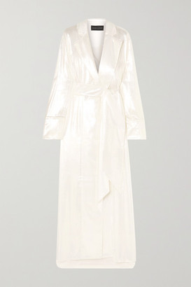 Michael Lo Sordo Double-breasted Metallic Velvet Gown - White
