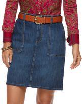 Chaps Petite Jean Skirt