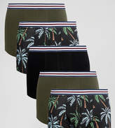 Asos Trunks With Floral Print And Stripe Waistband 5 Pack SAVE