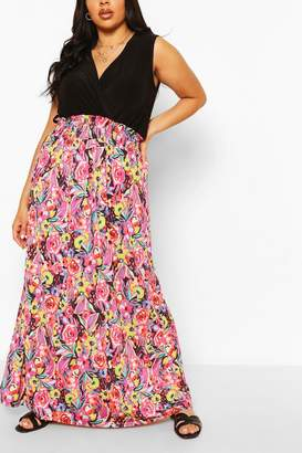 boohoo Plus Floral Printed Contrast Maxi Dress