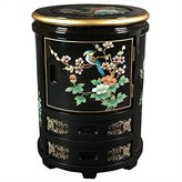 Oriental Furniture Asian 18-Inch Japanese Design Lacquered Stool Oriental End Table Cabinet