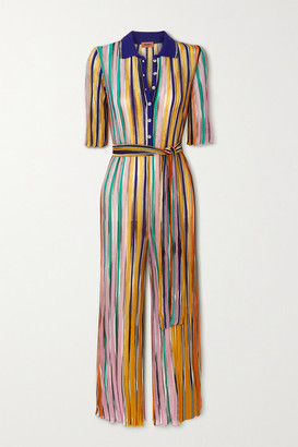 Missoni Belted Striped Crochet-knit Jumpsuit - Yellow