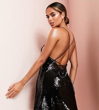 Asos Design DESIGN cowl neck all over sequin mini cami dress-Black