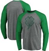 Men's Fanatics Branded Gray/Kelly Green Boston Red Sox St. Patrick's Day Paddy's Pride Raglan Long Sleeve T-Shirt
