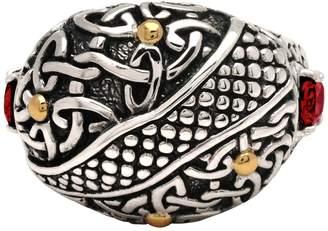 Celtic 18K Gold & Sterling Silver Bali Heritage Embellished Garnet Ring