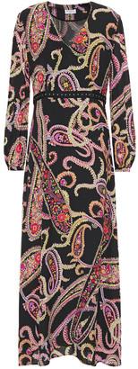 Claudie Pierlot Grosgrain-trimmed Printed Crepe De Chine Maxi Dress