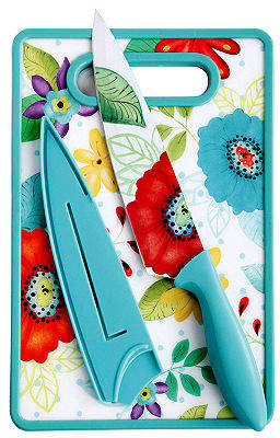 "Asstd National Brand Jordana 8"" Chef Knife W/Sheath & Cutting Board, Turquoise Floral Pattern"