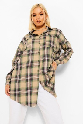 boohoo Petite Oversized Check Shirt