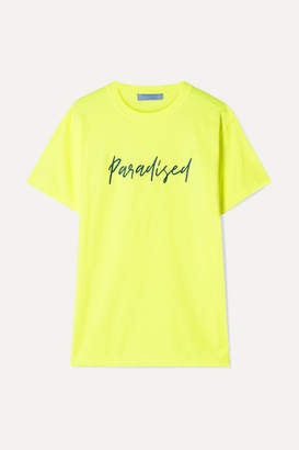 Paradised - Embroidered Neon Cotton-jersey T-shirt - Bright yellow