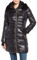 Via Spiga Women's Stand Collar Down Jacket With Removable Faux Fur Trim