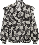 Topshop Ruffled Floral-print Silk-georgette Blouse - Black