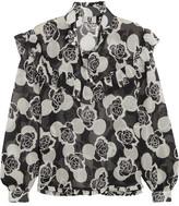 Topshop Unique - Ruffled Floral-print Silk-georgette Blouse - Black