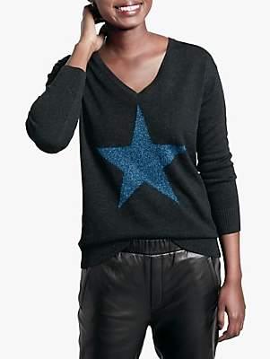Hush Stella Star Jumper, Navy Metallic Thread