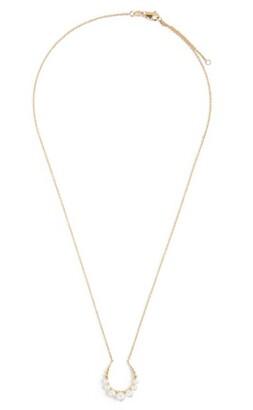 NOA mini Yellow Gold and Pearl Horseshoe Pendant Necklace