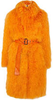 Saks Potts Rosti Belted Shearling Coat - Bright orange