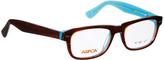 Brown & Teal Square Eyeglasses