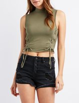 Charlotte Russe Mock Neck Lace-Up Crop Top