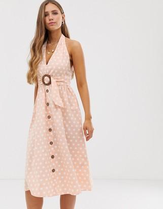 ASOS DESIGN halter neck midi button through linen sundress with buckle in spot