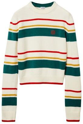 Loewe Striped Anagram Cropped Sweater