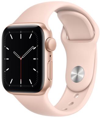 Apple Watch SE GPS, 40mm Gold Aluminum Case with Pink Sand Sport Band - Regular