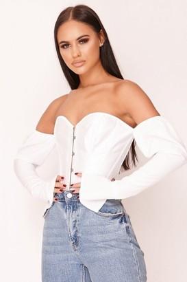 Bardot Hachu White Lace Back Top