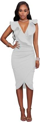 VERTTEE V Neck Ruffle Plain Bodycon Sleeveless Midi Tight Wrap Women's Party Dress (XL