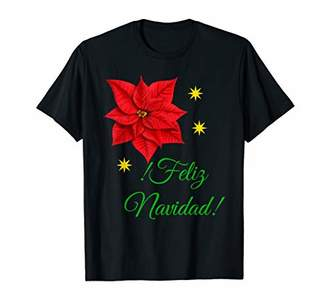 Feliz Navidad Christmas Flower Poinsettia Holiday Floral T-Shirt