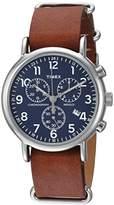 Timex Unisex TW2R63200 Weekender Chrono Brown Leather Slip-Thru Strap Watch