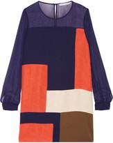 Diane von Furstenberg Reagan Chiffon-paneled Silk Mini Dress - Navy