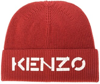 Kenzo Ribbed Knit Wool Logo Beanie