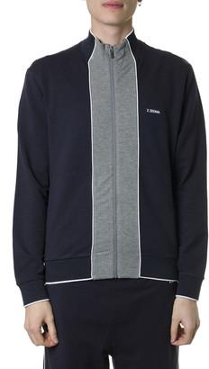 Ermenegildo Zegna Blue Cotton Blend Sweatshirt With Zip