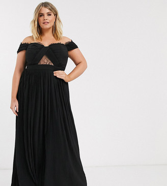 ASOS DESIGN Curve lace and pleat bardot maxi dress in black