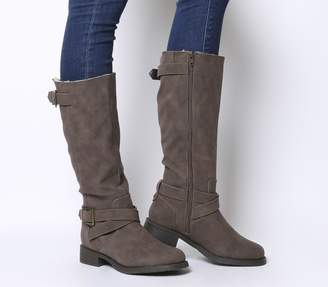 Office Kamel Biker Knee Boots Brown Fur Lined